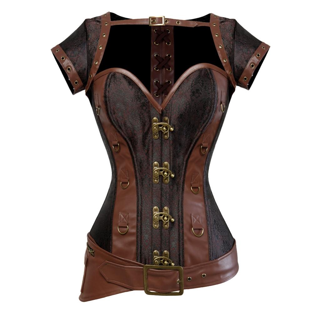 Steampunk korzet spirálová ocel vykostěná hnědá kůže pas gotický poprsí s bundou ohlávka Spodní prádlo horké kostýmy