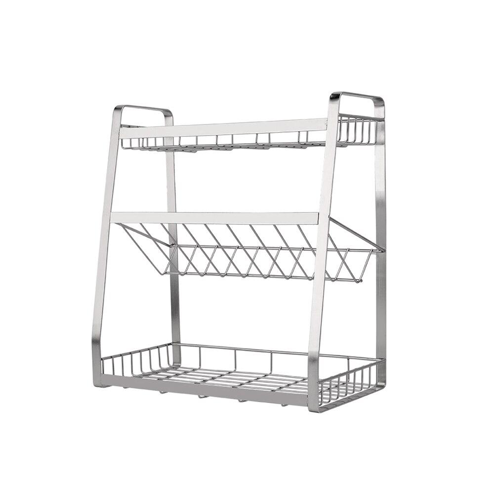 1 Pc Drei-regal Multi-funktionale Stehen Edelstahl Würze Aufhänger Lagerung Rack Küche Organizer Für Home Küche
