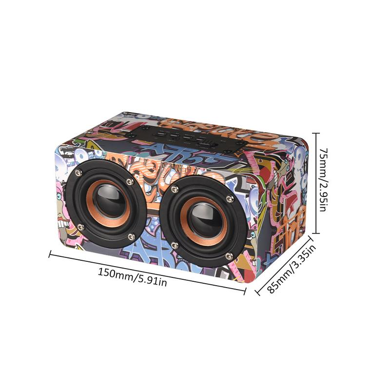 Image 5 - Graffiti Wooden Player Wireless Bluetooth Speaker Desktop Home Audio Street Dance Fashion Audio Stereo Hd Hifi Sounds Devices-in Portable Speakers from Consumer Electronics