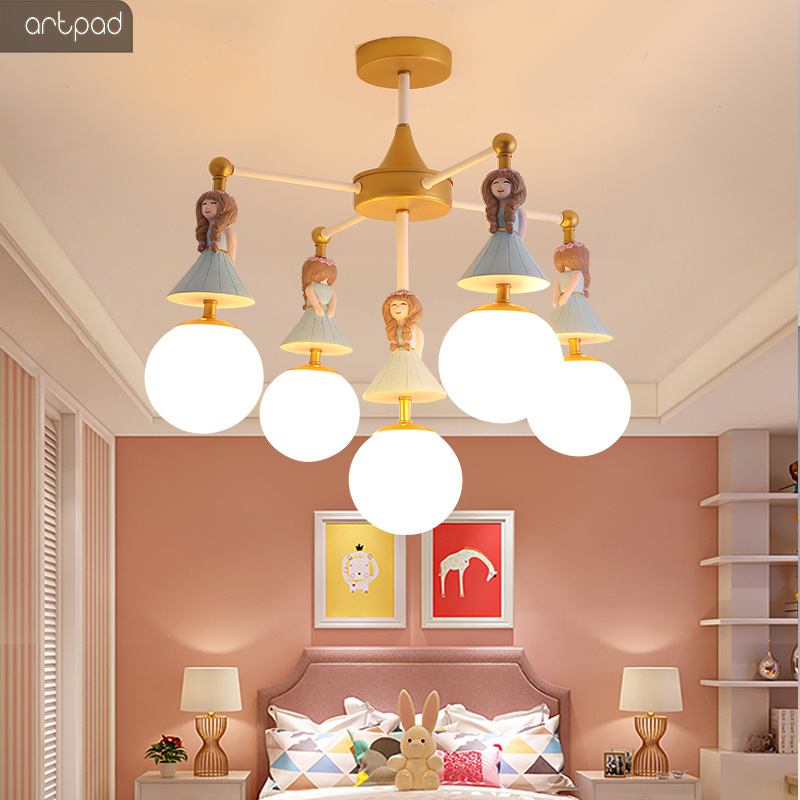 Us 133 71 20 Off Lovely Princess Kids Chandelier Lighting S Child Children Room Bedroom Nursery Decorative Led Lamp Re In
