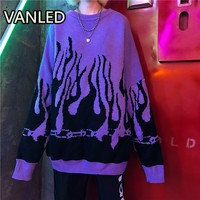 Autumn Winter Harajuku Flame Knitting Bat Sleeve Pullover Sweater Women Tide Outerwear