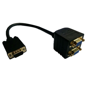 FFYY-Gold Plated VGA(HD15) Male to Female x 2 (1 PC to 2 Monitors) for High Resolution Video Splitter Cable(1920X1440)-Black(China)