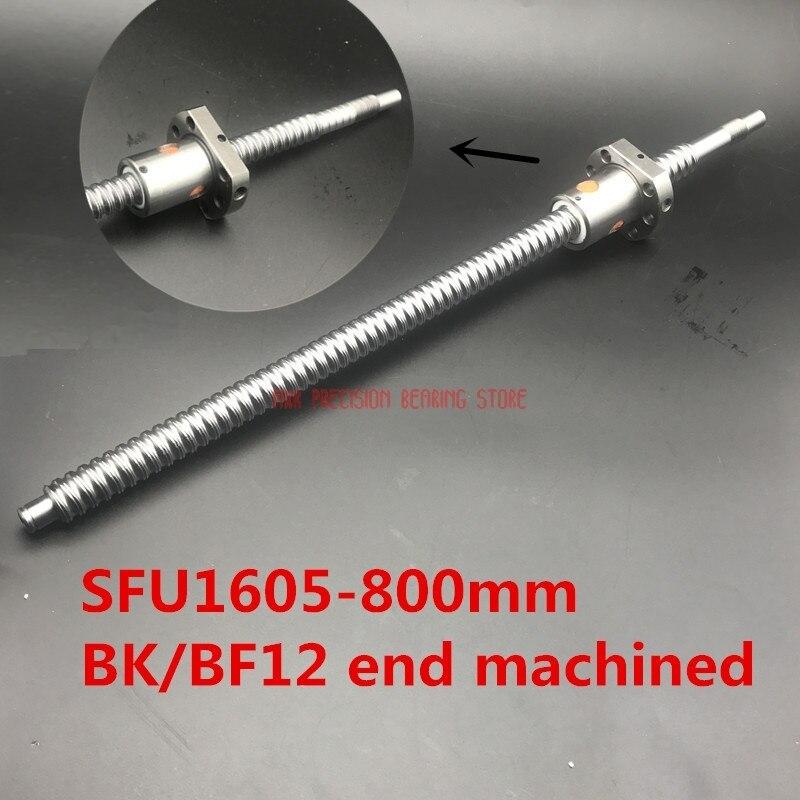 CNC routeur pièces linéaire Rail Sfu1605 800mm Rm1605 vis à billes + 1 Pc 1605 écrou unique pour pièces de CNC avec extrémité Bk/bf12 usinée