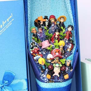 Image 2 - 13 style Anime One Piece figurka z bukietem kwiatów zabawki Luffy Nami Roronoa Zoro Model kwiaty ślub walentynki prezent