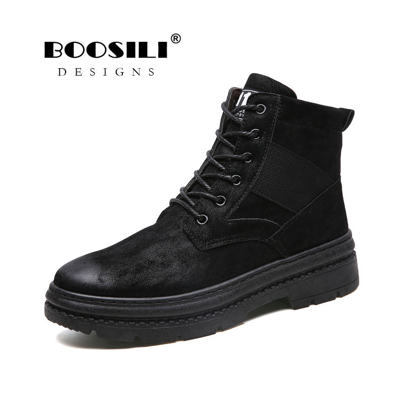 2018 Real New Brand Men's Boots Martens Winter Warm Shoes Motorcycle Mens Ankle Boot For Doc Martins Autumnwinter Men Oxfords