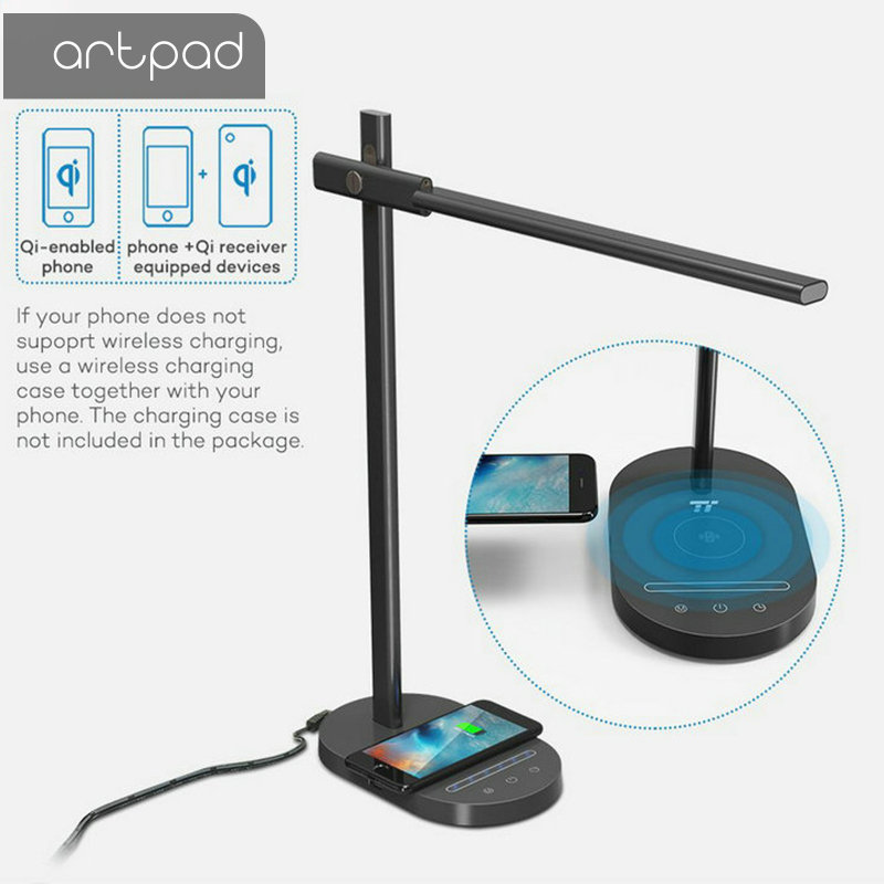 USB Port Charge Modern LED Desk Lamp with QI Wireless Charge Phone 5 Color Temperature 6 Level Brightness Office Work Light