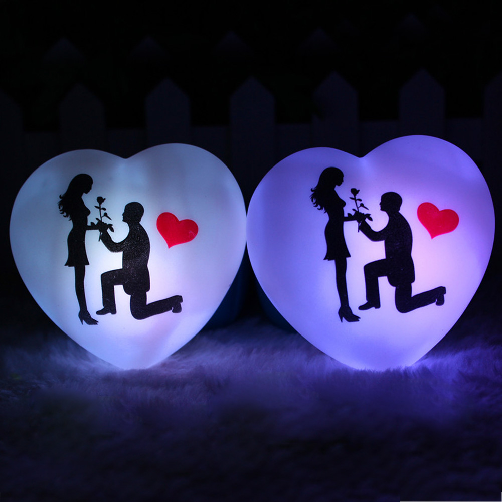 Image 3 - 1 Pcs LED Colorful Heart Shape Small Night Light Lover Propose Wedding Surprise Arranging Decor Props Valentines Day Gift-in LED Night Lights from Lights & Lighting