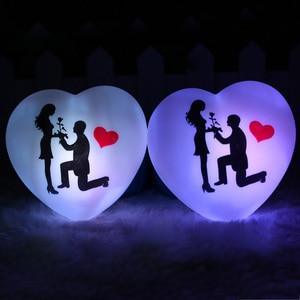 Image 3 - 1 pçs led colorido coração forma pequena noite luz amante propor casamento surpresa organizando decoração adereços dia dos namorados presente
