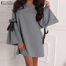 2019 ZANZEA Elegant Solid Bow Tie Short Dress Women Casual Long Flare Sleeve Summer Fashion Party Mini Vestidos Chic Dresses(China)