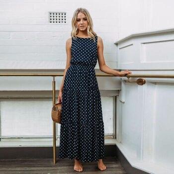2019 Bobo Women Dark Blue Boho Loose Sleeveless Holiday Dot Print Long Maxi Dress Evening Party Beach Dresses Summer Sundress 1