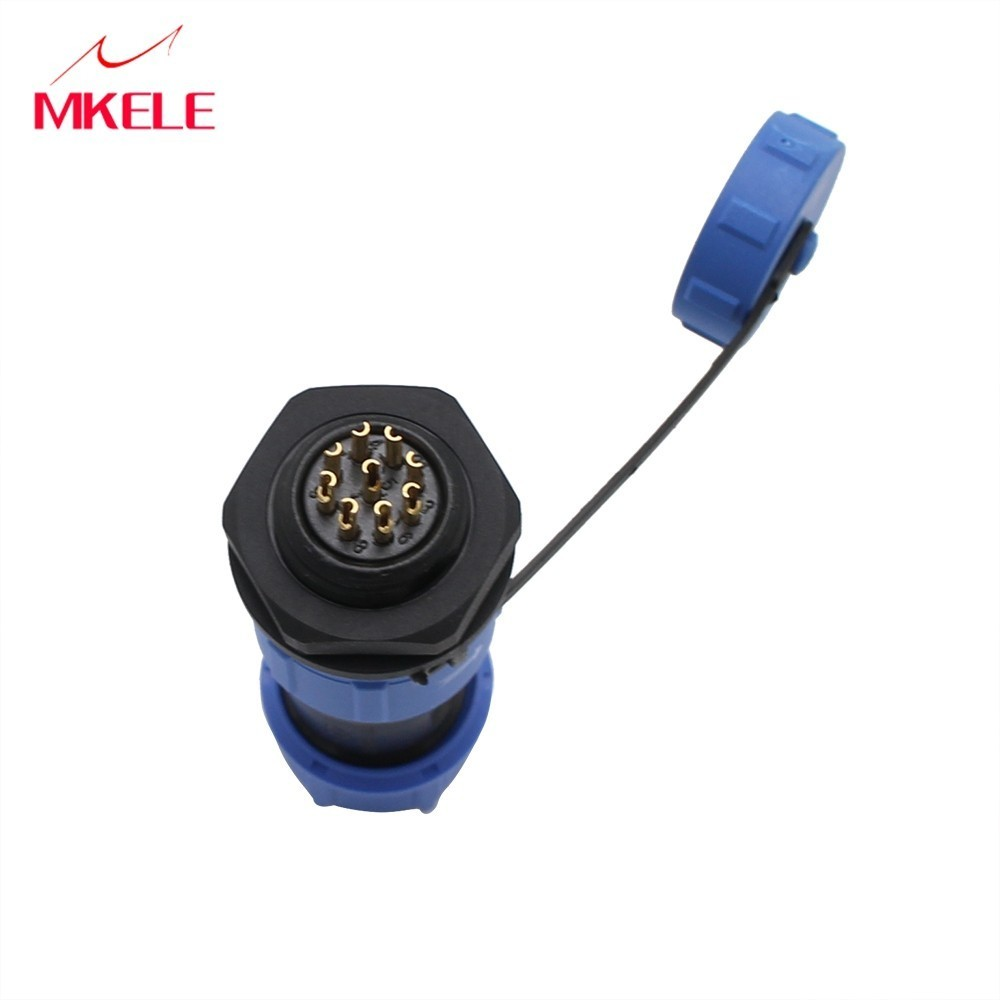 SP17 Waterproof Ronde Connectors Aviation Plug 17MM Male And Female Rear Nut Socket Connector 9 Pin in Connectors from Lights Lighting