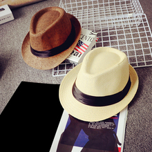 Hot Straw Cap Verano Panama Jazz British Couple Hat Leisure Unisex Beach Staw Sun Hats With Black Belt Summer