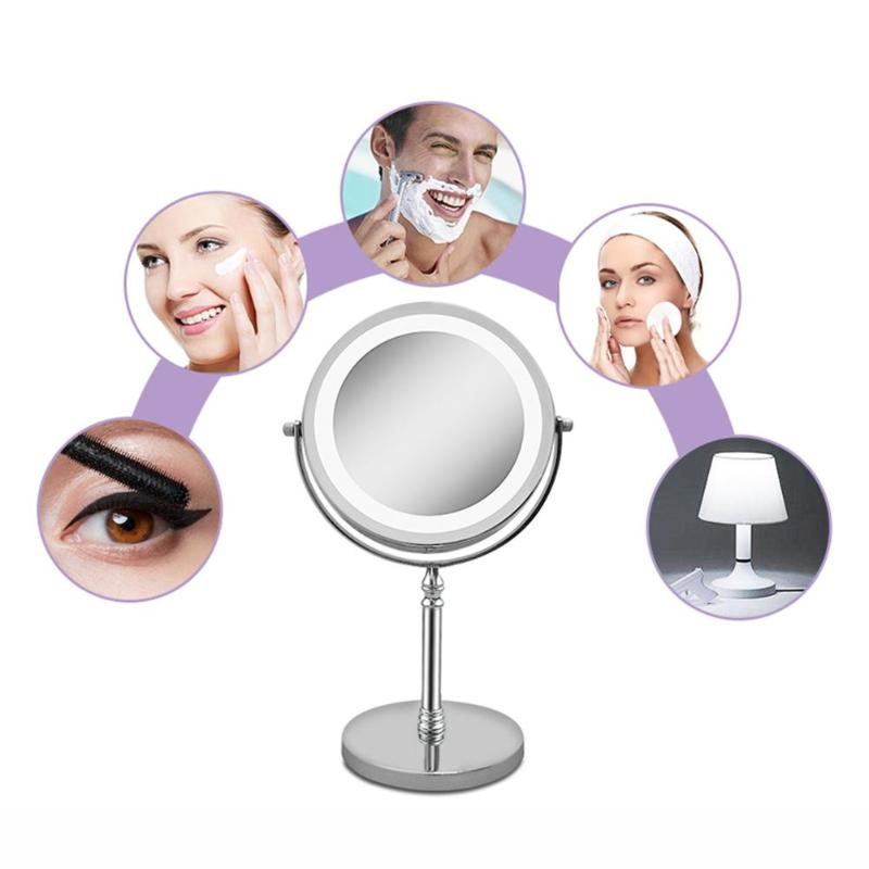 Portable LED Lighted Makeup Mirror 7 Inch 10x Magnification Dual Side 360 Degree Rotating Makeup Mirror Cosmetic Tool For Women in Makeup Mirrors from Beauty Health