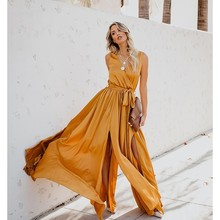 Yellow Boho Beach Dress Summer 2019 Women Belt Split Long Maxi Dress Green Pleated Dress Ladies Bohemian Style Dresses For Women