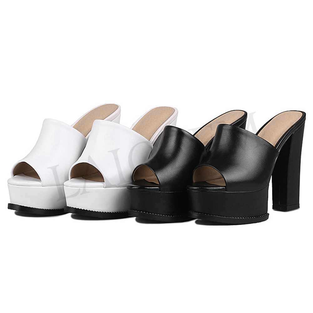 LAIGZEM Women Heels Slip On Waterproof Real Leather Chunky Heel Pumps Mules Slingback PARTY Shoes Woman Feminino Big Size 33 42 in Women 39 s Pumps from Shoes