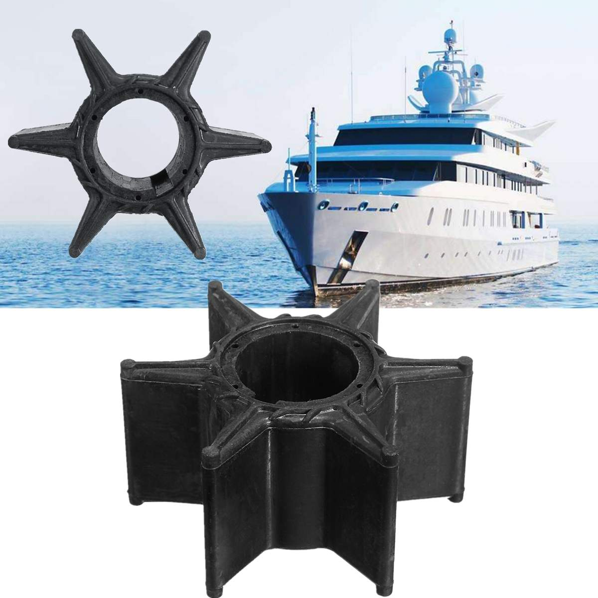 Water Pump Impeller Black Rubber For Yamaha 70HP 75HP 85HP 90HP Outboard 688-44352-03 18-3070 6 Blades Boat Parts & Accessories