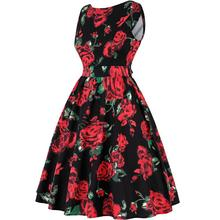 Plus Size Women's Floral Print Hepburn 50s Retro Hepburn Style Whole-body Printing With Ice Creams Roses Slim Waist Flared Dress
