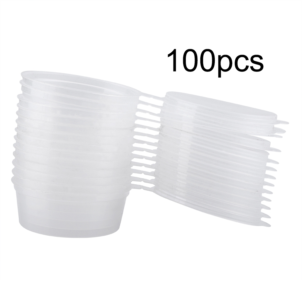 New 100Pcs50ml 2oz Sauce Cups Disposable Plastic Clear Sauce Chutney Cups Boxes With Lid Food Takeaway Seasoning Box Sauce Cup