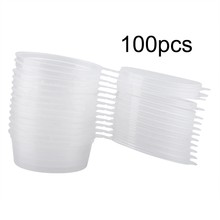 New 100Pcs50ml 2oz Sauce Cups Disposable Plastic Clear Sauce Chutney Cups Boxes With Lid Food Takeaway Seasoning Box Sauce Cup(China)