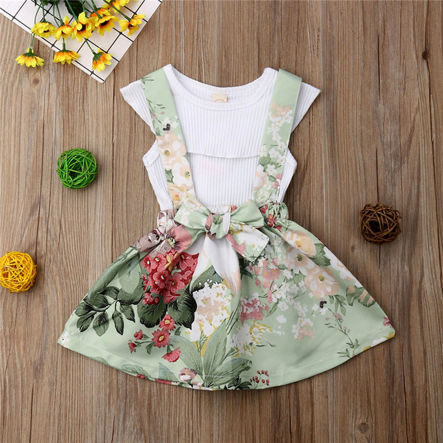 Princess Kids Baby Girls Summer Sets Ruffle Collar Sleeveless Tops Vest Flower Bow Strap Skirt 2Pcs Outfits Girl Clothes 6M-4Y
