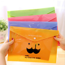 Ellen Brook 1 Piece Cute Creative Moustache A4 Pouch Bag Plastic Cute Korean Office School Stationary Folder Products Document(China)