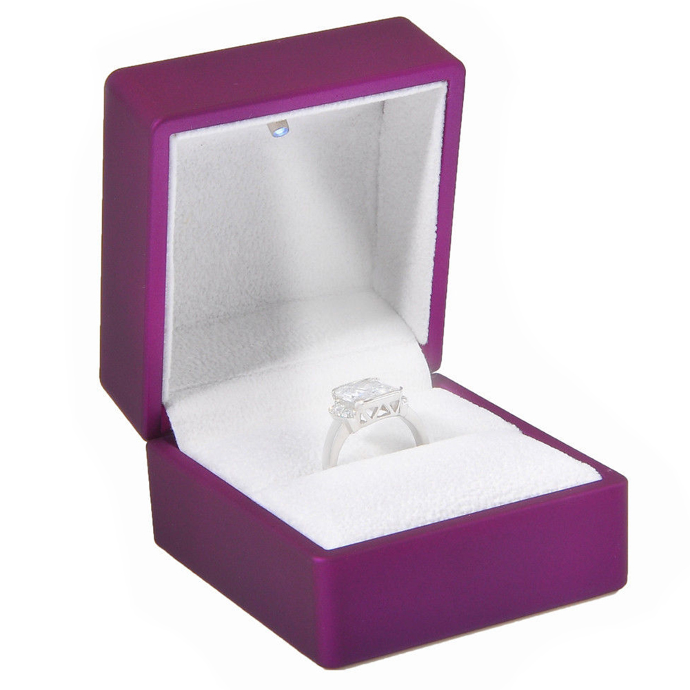 New LED Lighted Ring Gift Box Wedding Engagement Ring Gift Box Purple