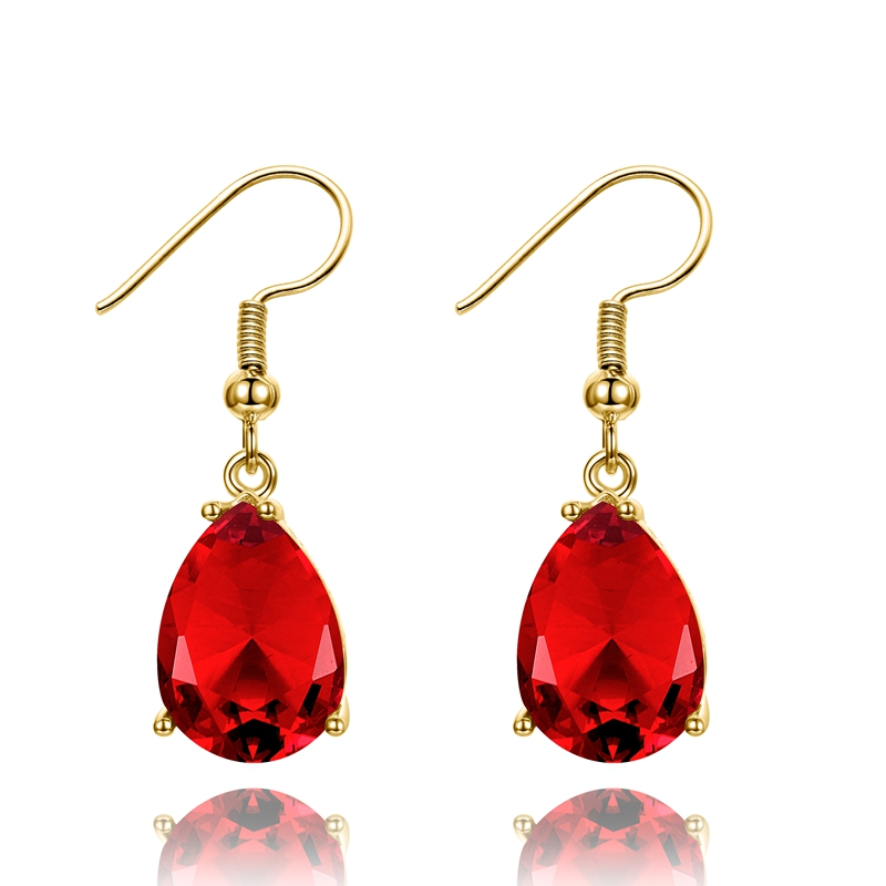 Drop-Earrings Ruby Gemstone Golden-Color Wedding-Jewelry Women's Red Party Silver