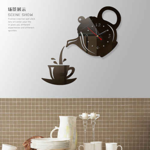 Coffee Cups Kitchen Wall Art Mirror Clock Modern Design Home