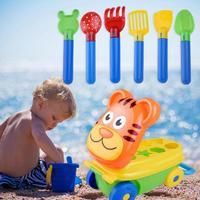 Cartoon Tiger Shape Trolley Sand Beach Pretend Play Toys Spade Storage Case