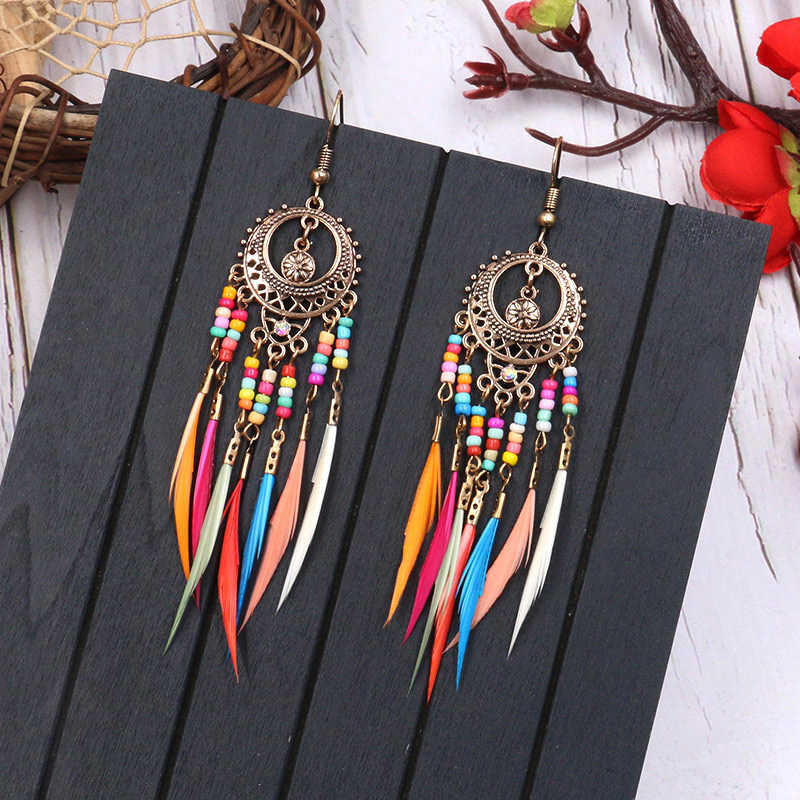 2019 Golden Silver Vintage Ethnic Rainbow beads Feather Dangle Drop Earrings for Women Female Boho Jewelry Accessories