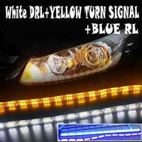 Pair Car Led White DRL+Yellow Flowing Turn Signal+Blue Running Light Stretchable DRL Turn Signal Light Sequential LED Strip