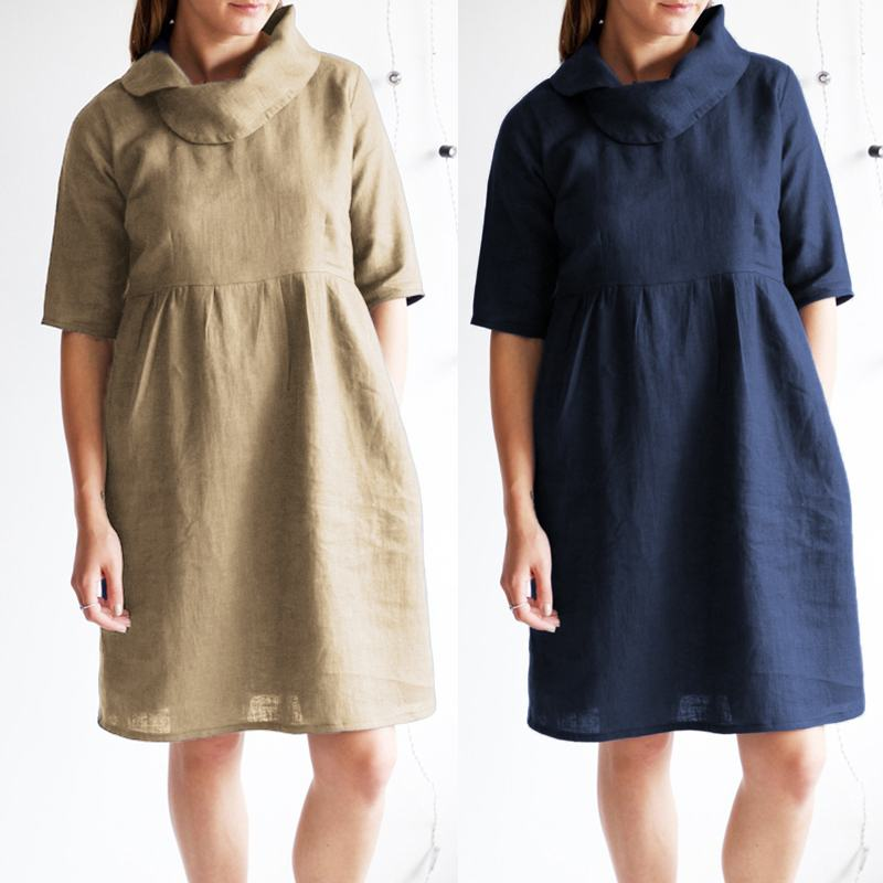 Celmia Vintage Linen Women Beach Dress 2019 Summer Plus Size Sundress Cowl Neck Short Sleeve Pleated Loose Shirt Vestidos Femme