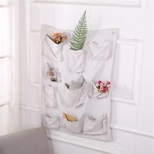 10 bolsillos estilo Simple diseño vintage ropa de cama de algodón bolsa de almacenamiento para colgar en la pared armario maquillaje artículos organizador decoración del hogar