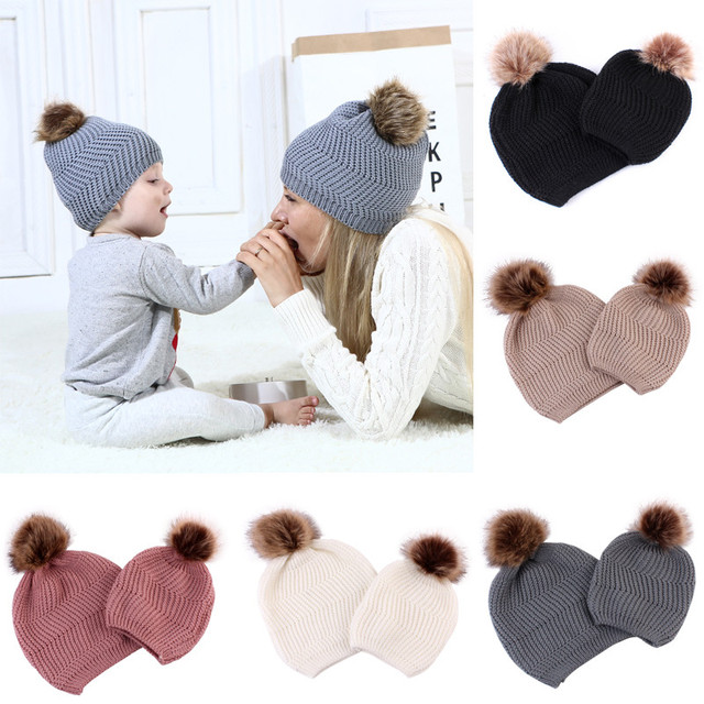 527c62efa51 2019 2PCS set Mom Mother+Baby Crochet Knit Pom Bobble Hat Kids Girls Boys  Winter Warm Fashion Beanie Hats Accessories