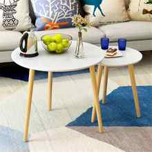 Modern Bedside Dining Table Coffee Desk Wood Legs Home Office Funiture Bar Cafe Furniture Decoration 50X49cm Round Triangle(China)