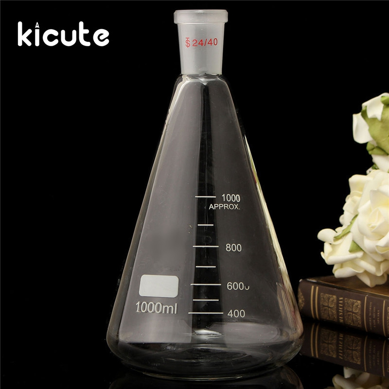 Kicute 24/40 1000ml/1L Glass Erlenmeyer Flask Conical Bottle Lab Chemistry Glassware Supplies