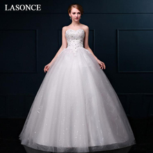 LASONCE Crystal Strapless Off The Shoulder Sequined Ball Gown Wedding Dresses Lace Appliques Backless Bridal Gowns lasonce lace appliques ball gown wedding dresses crystal strapless off the shoulder sequined backless bridal gowns