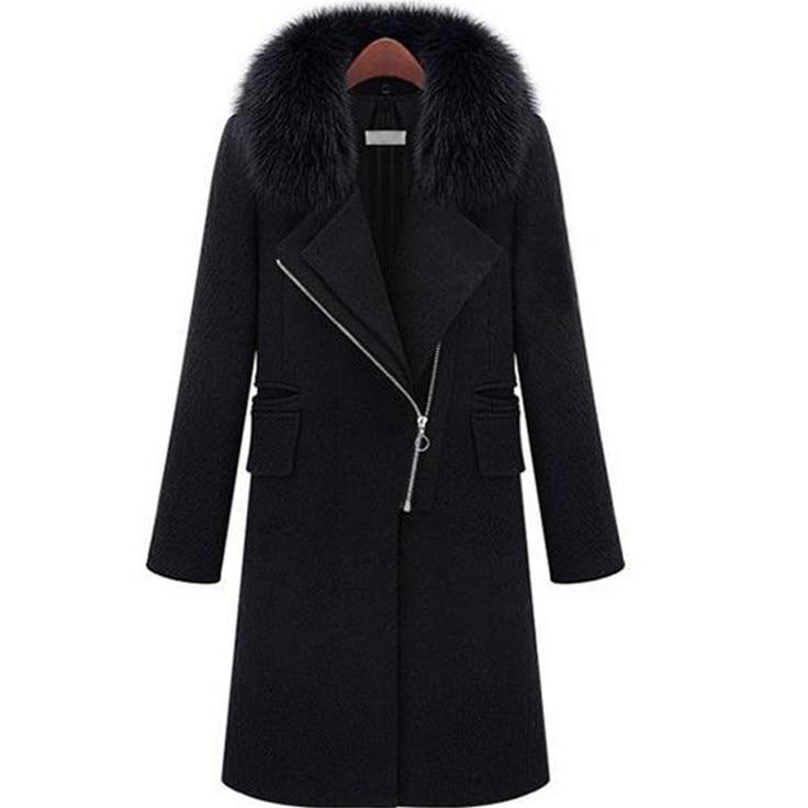 Fourrure La Chaud Laine 2018 Taille Survêtement Épaississement Noir Mince Femmes Nouveau Col Manteaux Manteau Plus Automne Long Hiver De waIafxPq