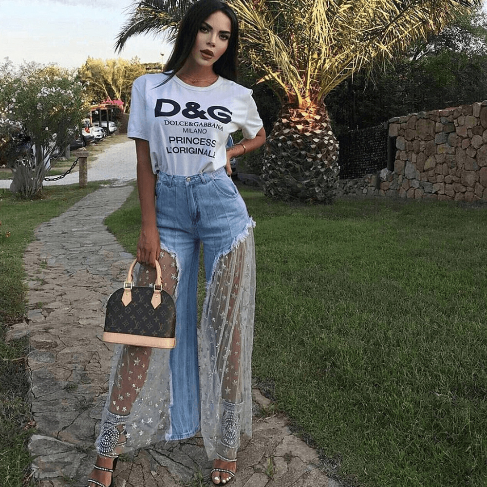 Summer Fashion Star Sequined Mesh Stitching Jeans Women Fashion Wild-Leg Casual Ladies Long Irregular Perspective Jeans