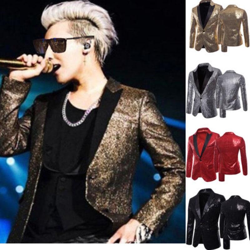 2018 Brand New Fashion Mannen Pailletten Glitter Zanger Prestaties Stage Blazers Pak Clubwear Jas Jas