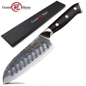 Image 1 - 5 インチ三徳ナイフ VG10 日本ダマスカスステンレス鋼 67 層日本人ダマスカス包丁プロのシェフのツール