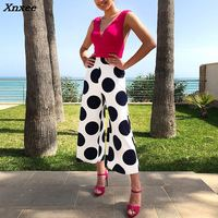 2018 New Fashion Summer Women Stylish Patchwork Ankle Length Pants Jumpsuit Polka Dots Splicing Plunge Wide Leg Jumpsuit Xnxee