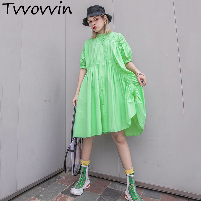 2019 New Spring Summer Stand Collar Short Sleeve Green Pleated Split Joint Loose Big Size Dress