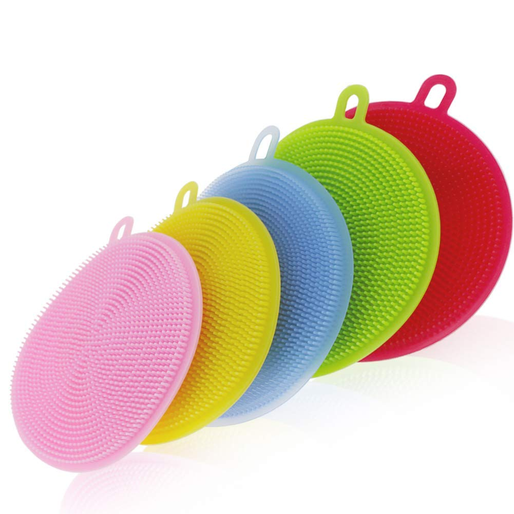 US $5.69 11% OFF|SS 001 Scrubber, Silicone Sponges Multipurpose  Antibacterial Kitchen Scrub Brush for Dish Pot and Veggies Fruit Non Stick  Pan,-in ...