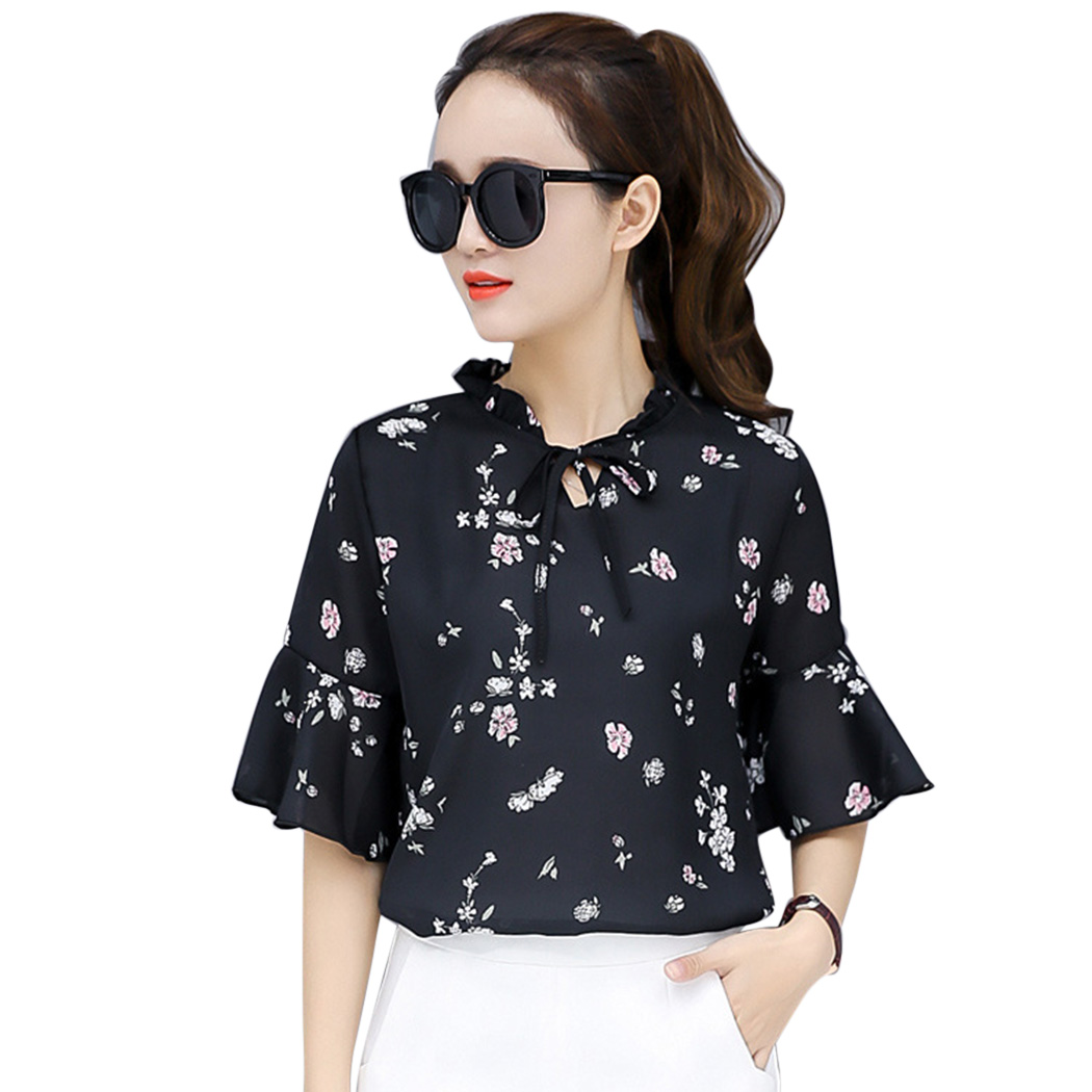 2019 Fashion Blouse Women Flare Short Sleeve Chiffon Floral Printed Summer Top Elegant Ruffles Bow Tie Ladies Office White Shirt For Improving Blood Circulation Women's Clothing