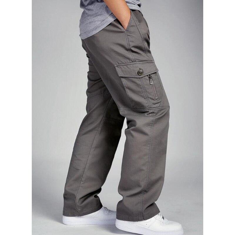 New Autumn Winter Men's Cargo Pants Cotton Pocket Joggers Harem Pants Casual Loose Wide Leg Long Trousers