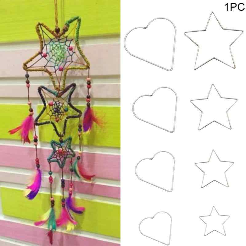 NEW Manual Metal Dream catcher Heart and start Hoop Ring Handmade Wicker Crafts DIY Dream catcher Tool Material Accessories