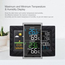 DIGOO DG-TH8988 LCD Color Indoor Outdoor Weather Station + Remote Sensor Thermometer Snooze Clock Sunrise Sunset Display