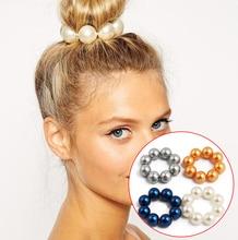 LNRRABC Big Imitation Pearl Hair Rope Holder Bead Hairband for Women Girls Ring s Crown Stretch Headwear Accessories