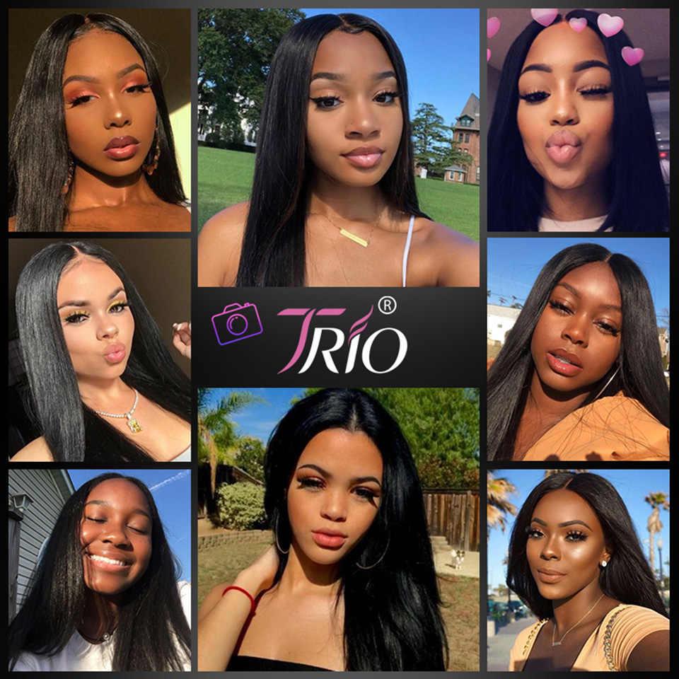 TRIO бразильские пучки волос плетение 100% пряди человеческих волос для наращивания, прямые человеческие волосы пучки волос 1/3/4 шт.